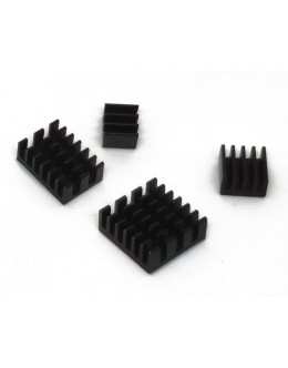 Heat Sink Kit for Raspberry Pi 4B - Black Aluminum